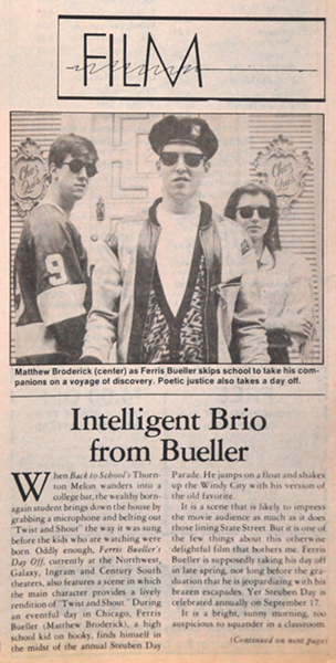 The Current's review of the 1986 film Ferris Bueller's Day Off
