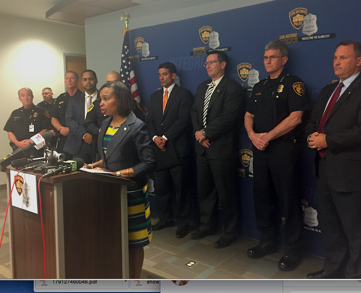 Mayor Ivy Taylor speaking at Thursday's press conference. - ALEX ZIELINSKI