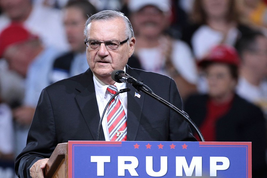 Joe Arpaio merrily campaigning for Trump in 2016. - WIKIMEDIA COMMONS