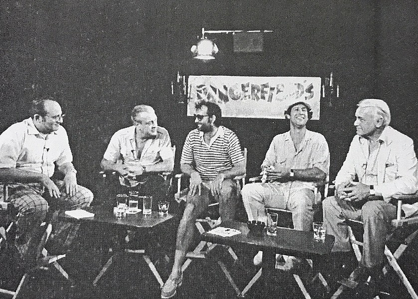 (From left) Polunsky interviewing Rodney Dangerfield, Billy Murray, Chevy Chase and Ted Knight in New York City. - FLICKER FOOTNOTES