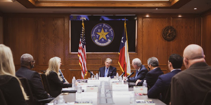Gov. Greg Abbott speaks during Thursday's meeting with law enforcement officials.