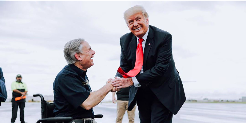 Gov. Greg Abbott (left) shakes hands with former President Donald Trump during a border photo op in late June.