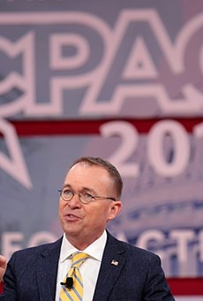 Mick Mulvaney speaking at the 2018 Conservative Political Action Conference in National Harbor, Maryland.