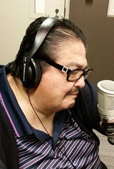Jimmy Gonzalez takes the mic during an appearance on KXTN radio.