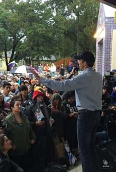Beto O'Rourke speaks to the crowd at Plaza Guadalupe Monday night.
