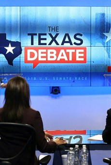 Beto O'Rourke makes a point during Tuesday's televised debate with Ted Cruz.