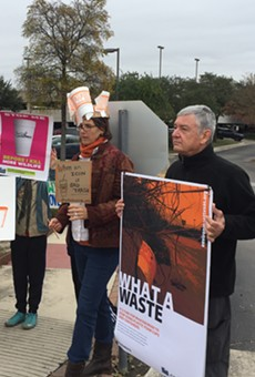 Protesters assemble in front of Whataburger's corporate offices in North Central San Antonio.