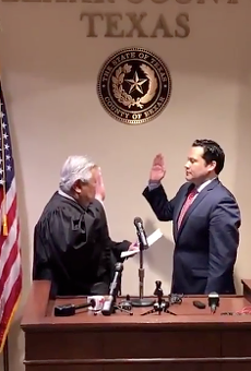 Justin Rodriguez is sworn in as Bexar County Commissioner.