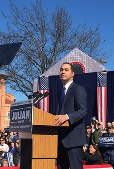 Julian Castro announces his run for president at a recent rally on the West Side of San Antonio.