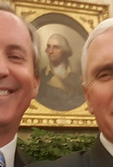 Ken Paxton (left) selfies it up with fellow partisan Vice President Mike Pence.