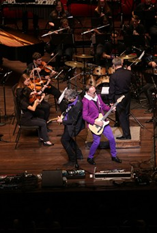 YesBodyElse performs onstage with YOSA in a Prince tribute at the Tobin Center for Performing Arts on March 13, 2017.