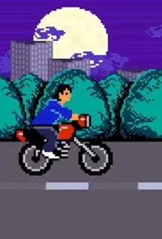 8-bit Rene Villanueva rides his motorcycle on 281.