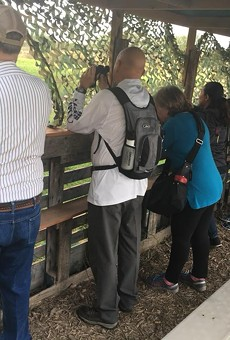 Bird-watchers engage in their hobby at the National Butterfly Center, one of the parks threatened by a planned section of the border wall.