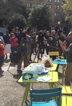 U.S. Rep. Joaquin Castro speaks to protesters in Travis Park.