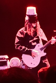Enigmatic guitar shredder Buckethead shows off his technique from the Aztec stage.