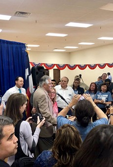 Newly elected District 125 Texas Rep. Ray Lopez addresses supporters at his campaign headquarters.