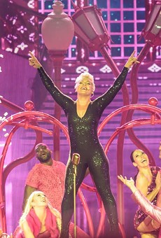 P!nk rocking out during her performance at the AT&T Center