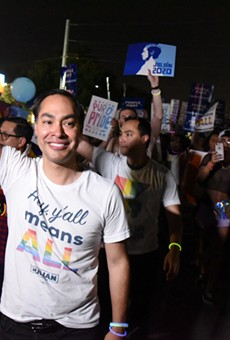 Julian Castro waves to the crowd during the Pride Bigger Than Texas Parade.
