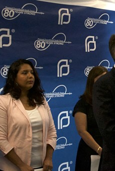 Planned Parenthood South Texas CEO Jeffrey Hons speaks at event commemorating the organization's 80th year serving the region.