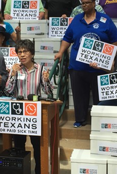 AFL-CIO's Linda Chavez Thompson fires up the crowd in front of City Hall after Working Texans for Paid Sick Time delivered its signed petitions to city officials.