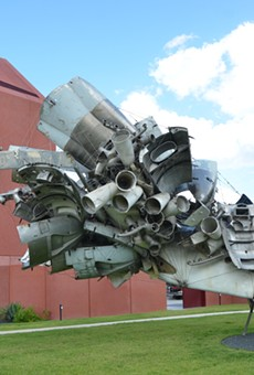 Nancy Rubins' 5,000 lbs. of Sonny's Airplane Parts, Linda's Place, and 550 lbs. of Tire-Wire dominates Ruby City's sculpture garden.