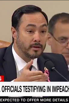 Joaquin Castro questions a witness during Wednesday's impeachment hearing.