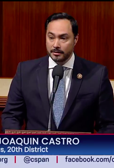 U.S. Rep. Joaquin Castro speaks from the House floor during the impeachment process.