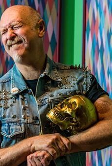 Heyd Fontenot cradles a skull in the first version of his installation The Lodge of Saint Reborlaro in Tulsa, Oklahoma.