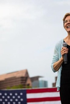 Elizabeth Warren address the crowd during a campaign event in Dallas.