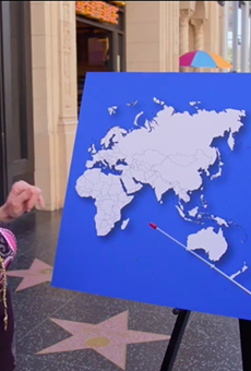 A geographically challenged Republican attempts to name one country on a world map.