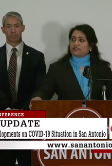Anita K. Kurian, assistant director of San Antonio Metro Health, speaks to reporters at Monday's news conference.