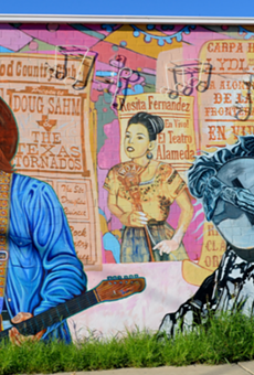 """Blancas' mural """"La Música de San Anto,"""" located at 1303 W Commerce"""