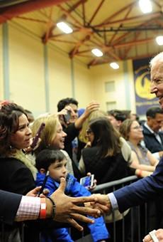 Joe Biden presses the flesh, pre-COVID-19.