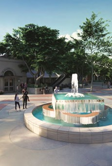 The latest Maverick Plaza rendering shows a new fountain closer to South Alamo Street.