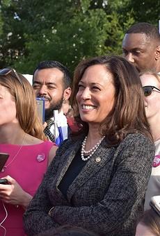 Sen. Kamala Harris attends a health care rally in Washington.