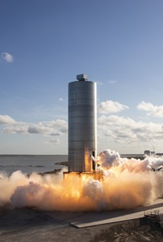 SpaceX's Starship SN5 during a flight test conducted in early August.