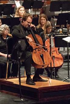 Wolfgang Emanuel Schmidt performs using a cello podium Strazza built for the Oklahoma City Philharmonic.