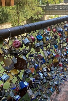 "The ""Love Lock Bridge"" is located between Market Street and the Kallison Walk bridge."