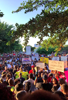Hundreds demonstrated outside an elementary school in McKinney to protest.