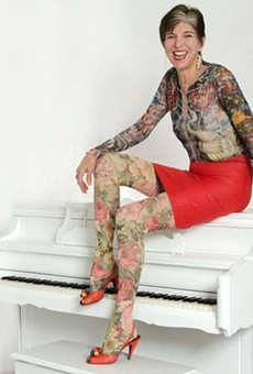 Piano player Marcia Ball repping her faux-tat sleeves