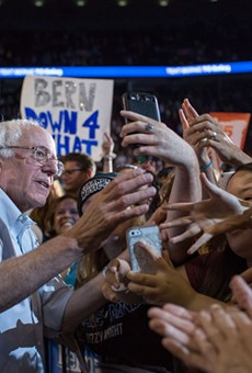 The crowds turning out to hear Bernie Sanders progressive message continue to grow. An estimated crowd of 28,000 filled the Moda Center in Portland, Oregon,  to hear the Democratic presidential candidate speak at a campaign rally on Sunday, August 9, 2015.