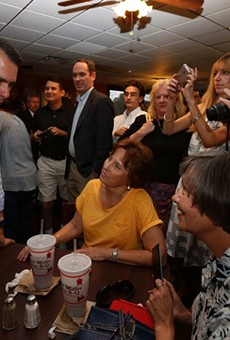 Scott Walker meets with voters at the Bill Miller BBQ on Broadway.
