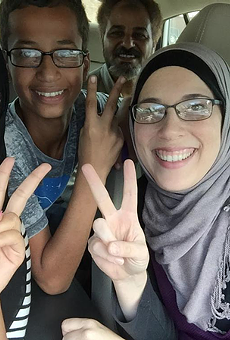 "Ahmed Mohamed (second from the left) was arrested for allegedly building a ""hoax clock."""