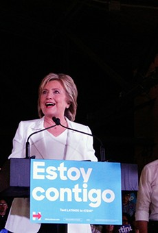 Hillary Clinton speaks as Julian Castro looks on at a rally on Thursday at Sunset Station.