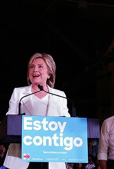 Hillary Clinton addresses the crowd assembled at Sunset Station on Thursday, October 15.