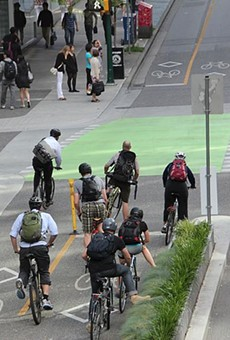 This is what bike lanes look like in Vancouver.