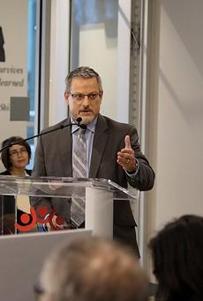 David Nisivoccia, SAHA's CEO and president, addresses the Housing Commission last year.