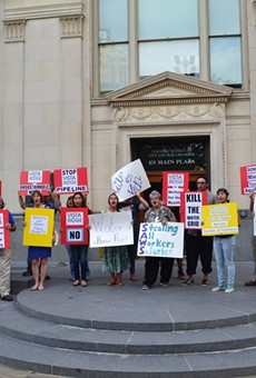 The Alamo Area Sierra Club is part of the Mi Agua Vida Coalition, which will protest the Vista Ridge water pipeline Tuesday from 11:30 a.m. to 1:30 p.m. on the steps of City Hall.