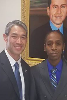 Pharaoh Clark (right) met with San Antonio Mayor Ron Nirenberg this summer to advocate for reforms to SAPD.