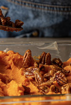 Whipped sweet potatoes with candied pecans is one fresh vegetable option included with the Pearl Farmers Market Curbside Thanksgiving Meal Kit